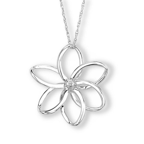 Silver Elegance Genuine Diamond Spiral Flower Necklace - Sterling Silver - Made to Order - EESP222D