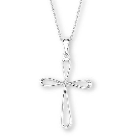 Silver Elegance Genuine Diamond Cross Pendant Necklace - Sterling Silver - Handmade -- EESP229D