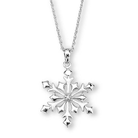 Silver Elegance Genuine Diamond Snowflake Necklace - Sterling Silver - Made to Order -  EESP232D