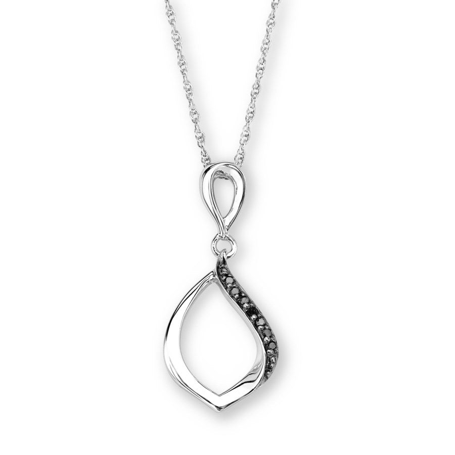 Silver Elegance Genuine Black Diamond Edged Necklace - Sterling Silver - Made to Order -  EESP249D