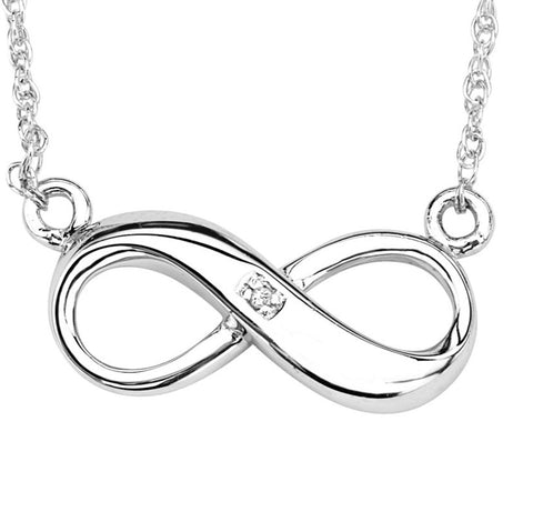Silver Elegance Genuine Diamond Infinity Pendant Necklace - Sterling Silver - Handmade -- EESP251D