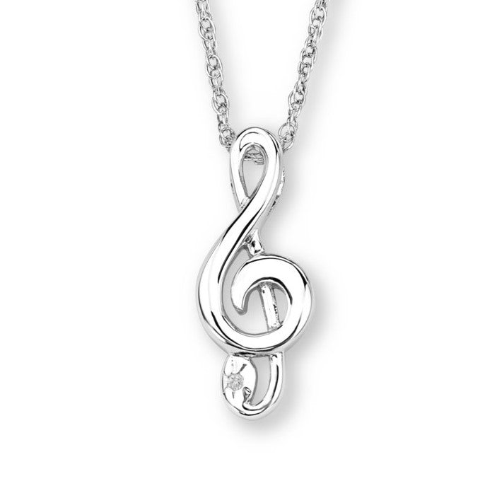 Silver Elegance Genuine Diamond Music Note Pendant Necklace - Sterling Silver - Handmade - - EESP256D