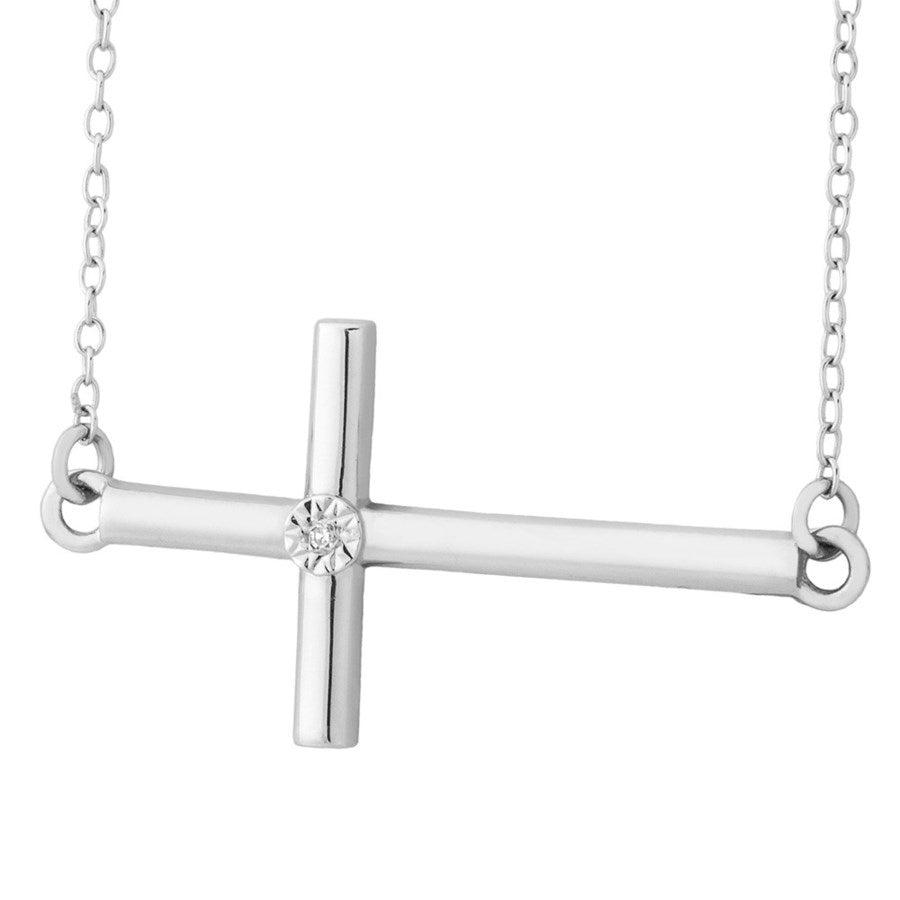 Silver Elegance Genuine Diamond Sideways Cross Necklace - Sterling Silver - Handmade - - EESP258D