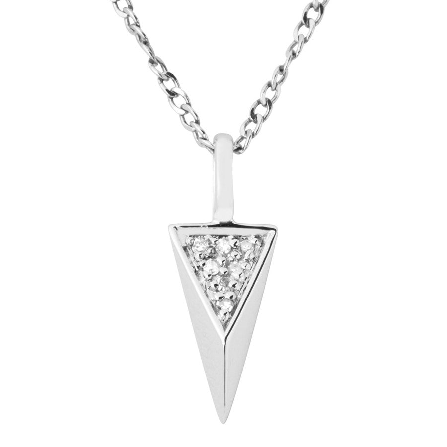 Silver Elegance Genuine Diamond Triangle Pendant Necklace - Sterling Silver - Handmade - EESP260D