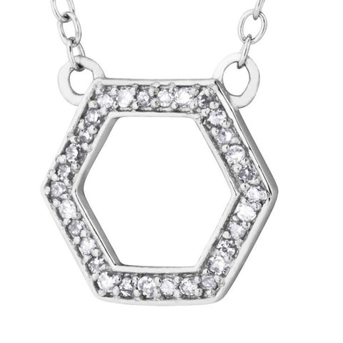 Silver Elegance Genuine Diamond Hexagon Pendant Necklace - Sterling Silver - Handmade --  EESP262D