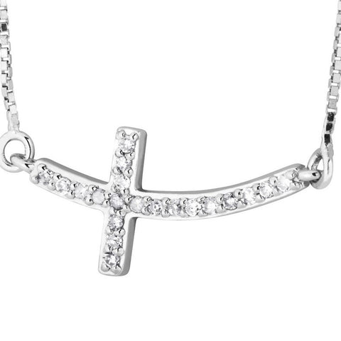 Silver Elegance Genuine Diamond Curvy Sideways Cross Pendant Necklace - Sterling Silver - Handmade -- EESP264D