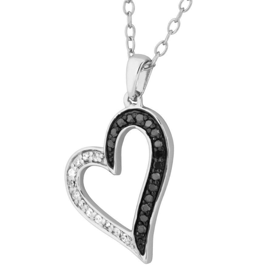Silver Elegance Genuine Black and Clear Diamond Heart Pendant Necklace - Sterling Silver - Handmade -EESP266D