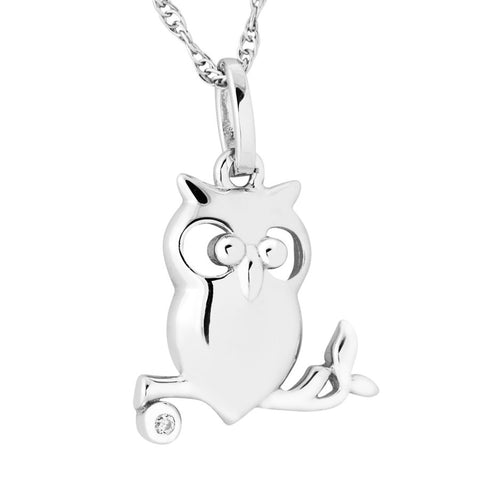 Silver Elegance Genuine Diamond Petite Owl Necklace - Sterling Silver - Made to Order - EESP268D