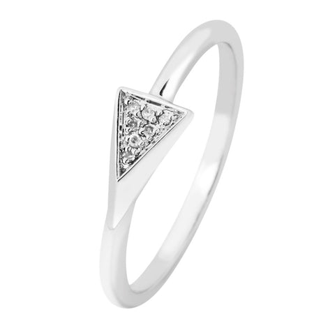 Size 6 - 9 Silver Elegance Genuine Diamond Triangle Ring - Sterling Silver - Handmade - EESR260D