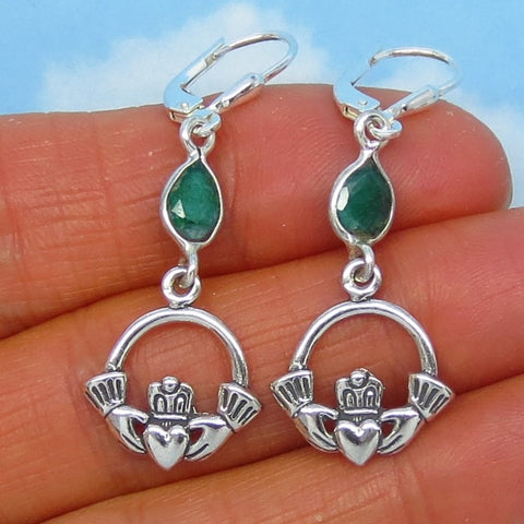 1.39ctw Natural Emerald Claddagh Earrings - Sterling Silver Leverback - Long Dangles - Genuine Raw Emerald - Celtic Earrings - Pear Emerald