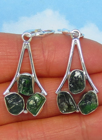 Natural Emerald Earrings Leverback Dangle - Sterling Silver - Chandelier - Raw Rough Crystals Nuggets - Genuine Emerald - Large - 161878