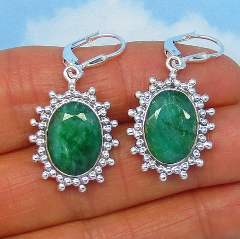 7.77ctw Natural Emerald Earrings - Sterling Silver - Sun Celestial - Leverback Dangles - 14x10 Oval Raw Genuine India Emerald Large - 181733