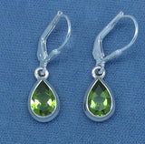 9 x 6mm Genuine Peridot Earrings - Sterling Silver - Leverback - Pear Shape - 211653