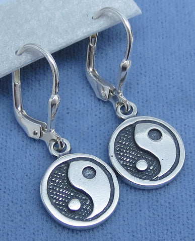 Yin-Yang Leverback Earrings - Sterling Silver - 200907