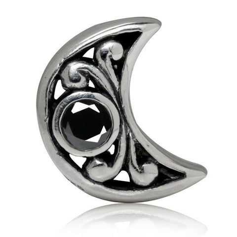 2-Sided Black CZ Crescent Moon 925 Sterling Silver Hypoallergenic Charm Bead Pendent Fits Pandora Bracelets - Euro Charm - Not Threaded