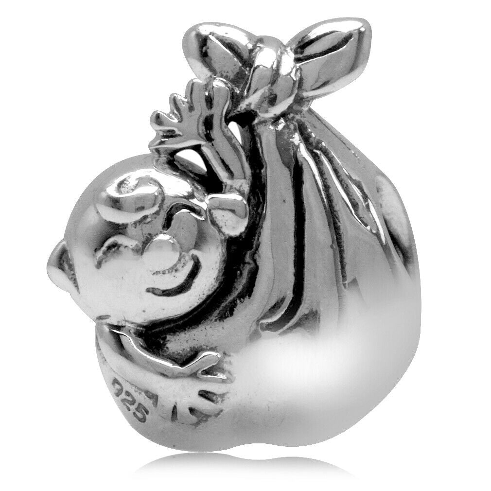 New Baby European Charm Bead Stork Bundle .925 Sterling Silver - Fits Pandora Bracelets - Euro Charm - Hypoallergenic - Cute Charm 160638
