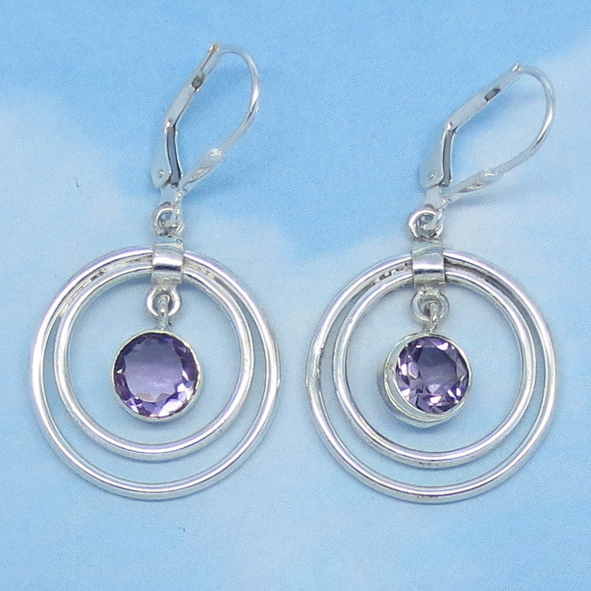 2.6ctw Natural Amethyst Earrings - Sterling Silver - 7mm Round Genuine Purple Amethyst - Leverback Hoops - Boho Gypsy - su171053