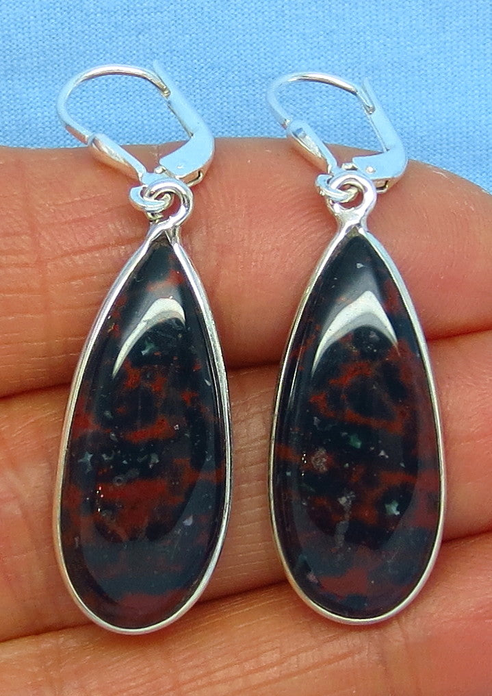 Bloodstone Earrings - Leverback - Sterling Silver - Pear Shape - Long Dangles - Heliotrope - Jasper - 181603