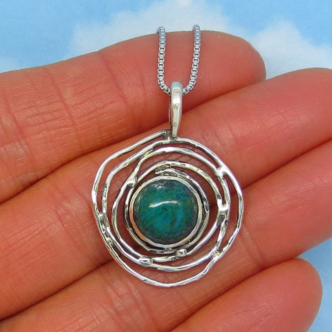 Natural Chrysocolla from Peru Moon Pendant Necklace - Sterling Silver - Sun Petroglyph Bird Nest Celestial Galaxy - p171158