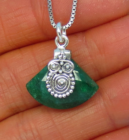 Genuine Emerald Necklace - Sterling Silver - Artisan - Fan Shape - Raw Emerald -- P190616