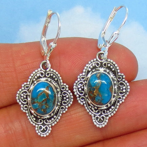 Natural Arizona Mojave Blue Copper Turquoise Leverback Earrings - Sterling Silver - Victorian Filigree Bali Boho - Genuine - 171558