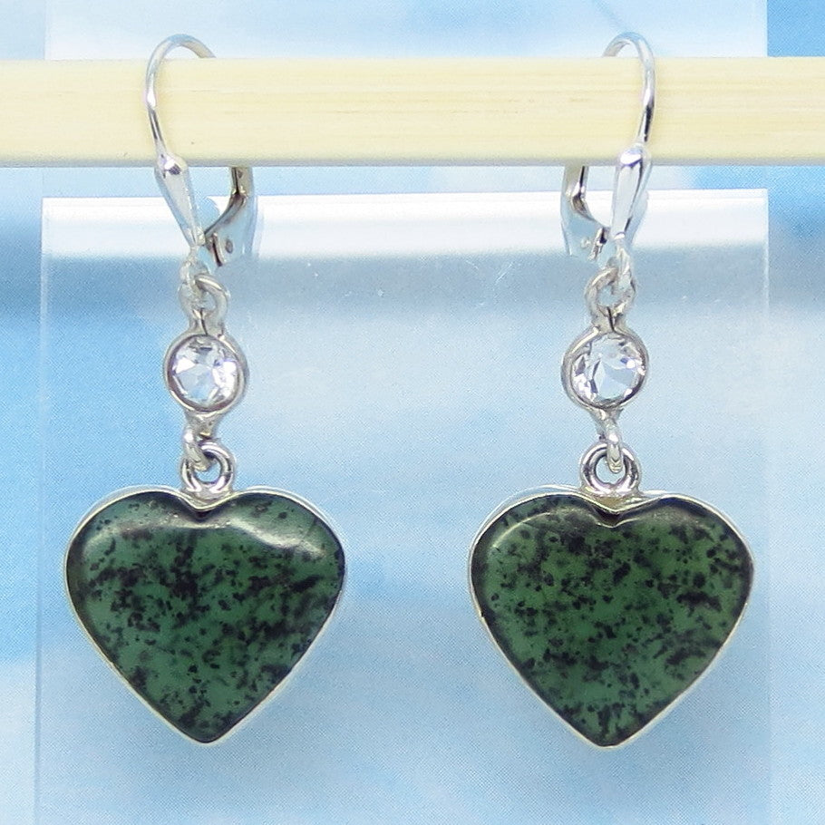 Natural Nephrite Jade Heart Earrings - Leverback - Sterling Silver - Genuine Green Jade & White Topaz - 152019