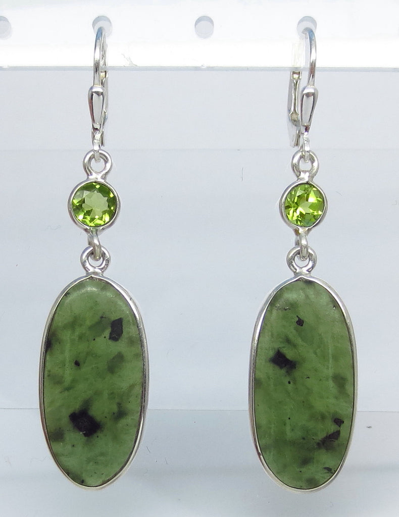Nephrite Jade Earrings - Leverback - Sterling Silver - Genuine Jade - Natural Jade - Dark Green Jade - Long Oval - Genuine Peridot su171673