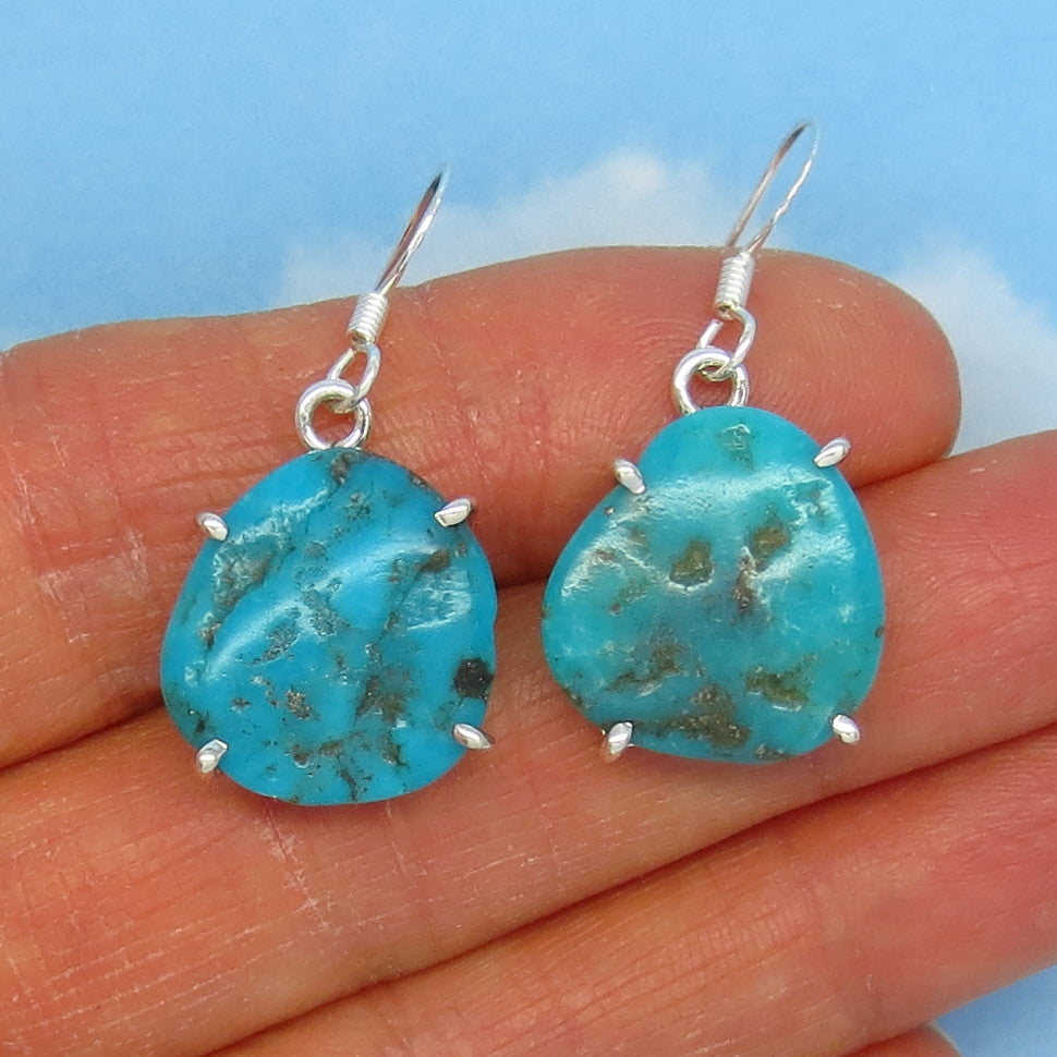 Natural Arizona Turquoise Nugget Earrings Sterling Silver - 17 x 16mm - Simple - Genuine Raw Rough Nugget - Minimalist - 151126