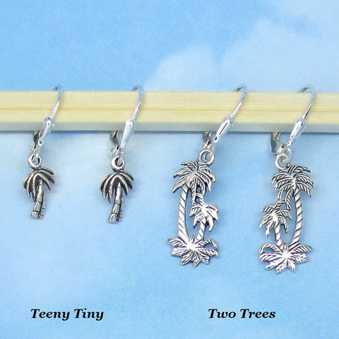 Sterling Silver Palm Tree Earrings - Leverback - Beach - Tropical - Island