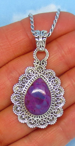 Mojave Purple Turquoise Pendant Necklace - Sterling Silver - Pear Shape - Natural Genuine Turquoise - Victorian Filigree Design - sa171806