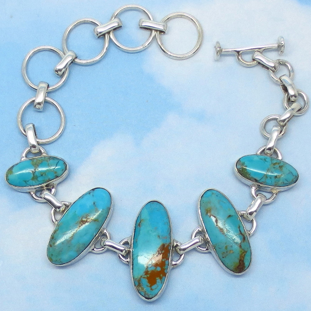 "Natural Mojave Blue Turquoise Bracelet - Sterling Silver - Genuine Arizona Turquoise - Oval - Adjustable 5-1/2"" to 8"" - jy194530"