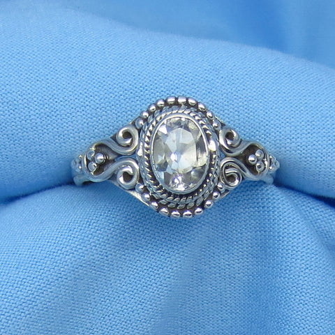 Size 9 Genuine Natural White Topaz Ring - Sterling Silver - 1.0ct - 7 x 5mm Oval - Victorian Filigree Bali Design - sa161109-ov