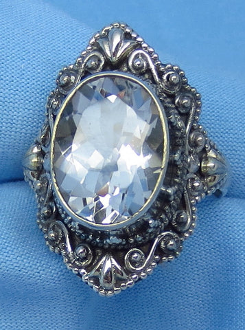 Size 9 Large Genuine Natural White Topaz Ring - Sterling Silver - 6ct - 14 x 10mm Oval - Victorian Filigree Bali Design - sa161758