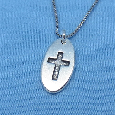 Sterling Silver Small Cross Pendant Necklace - Cross Tag - Dog Tag - Oval - p170562