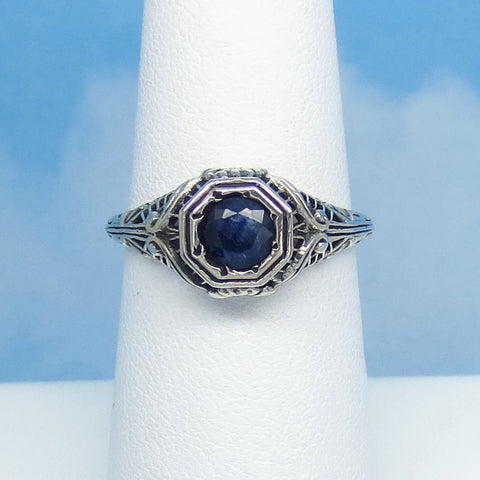Size 6-1/2 .60ct Genuine Natural Sapphire Ring - Sterling Silver - Victorian Filigree Reproduction Gothic Ring - Raw - Tiny Dainty 0015-03
