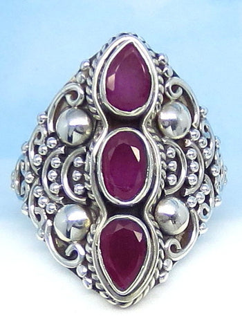 1.6ctw Size 6 Natural Ruby Ring - Sterling Silver - Genuine Ruby - Victorian Design - Gothic - Filigree - Boho - Bali - Tall - 0028-18