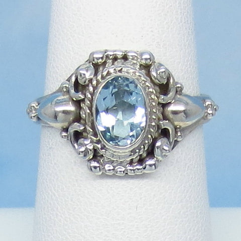 1.2ct Size 7 Natural Sky Blue Topaz Ring - Sterling Silver - Victorian Filigree Antique Design - Oval - 7 x 5mm Genuine jy990851