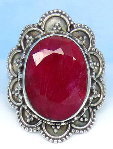 12.7ct Size 9 Natural Ruby Ring - Sterling Silver - India Raw Genuine Ruby - Victorian Filigree Bali Design - Large Oval - rr0010-18