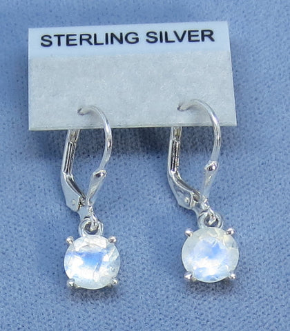 7mm Rainbow Moonstone Faceted Leverback Earrings - Sterling Silver - 181320