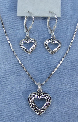 Antiqued Filigree Heart Necklace & Earrings Set - Sterling Silver - Set 211752
