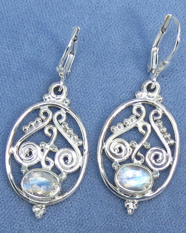 Rainbow Moonstone Earrings - Leverback - Sterling Silver - Filigree - Victorian Design - 171338