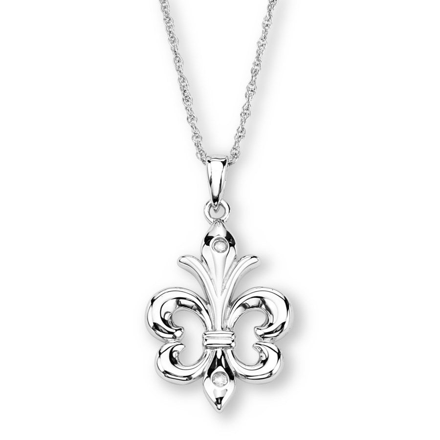 Silver Elegance Genuine Diamond Fleur De Lis Necklace - Sterling Silver - Made to Order - EESP223D