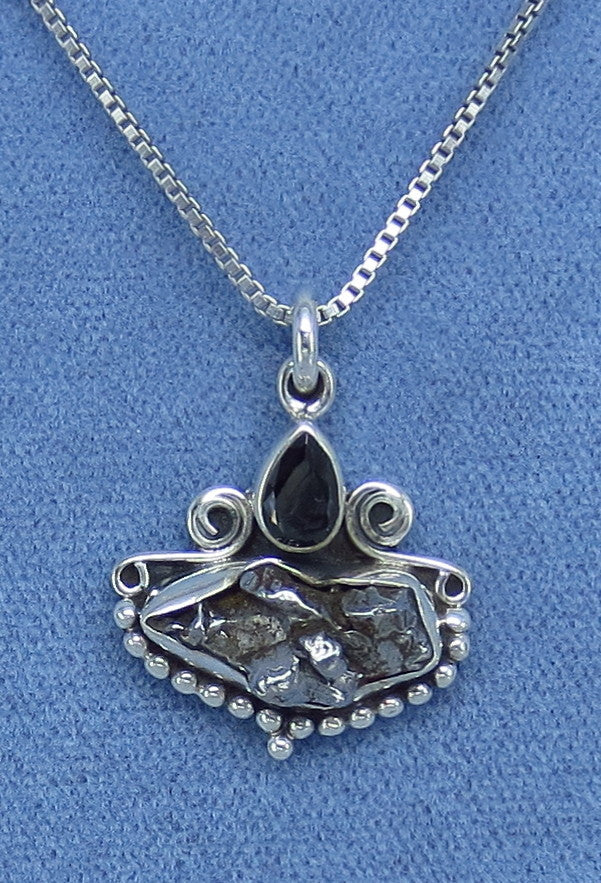 "Meteorite Campo del Cielo ""Flying Saucer"" Sterling Silver Necklace - Black Onyx Accent - M150653"