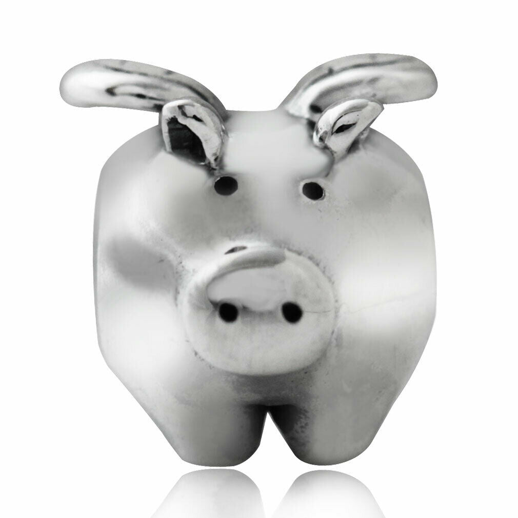 Flying Pig 925 Sterling Silver European Charm Bead Pendant Fits Pandora Bracelets - Euro Charm - Not Threaded - Hypoallergenic - fp180-752