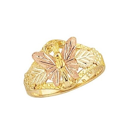 Sizes 4 - 9 Mt. Rushmore Black Hills Gold Frosted Butterfly Ring - 10K and 12K Solid Gold - Made to Order -  G 1085