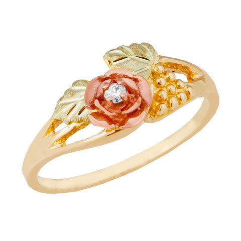 Sizes 3 - 13 Mt Rushmore Black Hills Gold Diamond Rose Ring - 10K and 12K Yellow, Rose and Green Gold - Made to Order -G 1100D