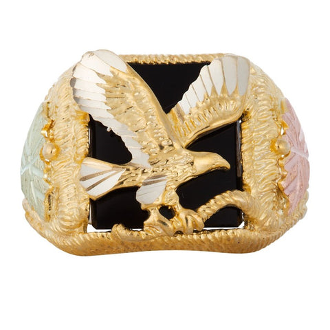 Size 8 - 13-1/2  Mt. Rushmore Black Hills Gold Men's Sure Eagle Onyx Ring - 10K and 12K Solid Gold - Made To Order - G 1310OX