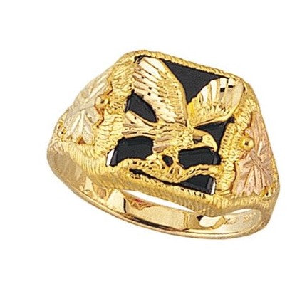 Size 9 - 12  Mt. Rushmore Black Hills Gold Men's Solid Eagle Onyx Ring - 10K and 12K Solid Gold - Made To Order -G 1385OX