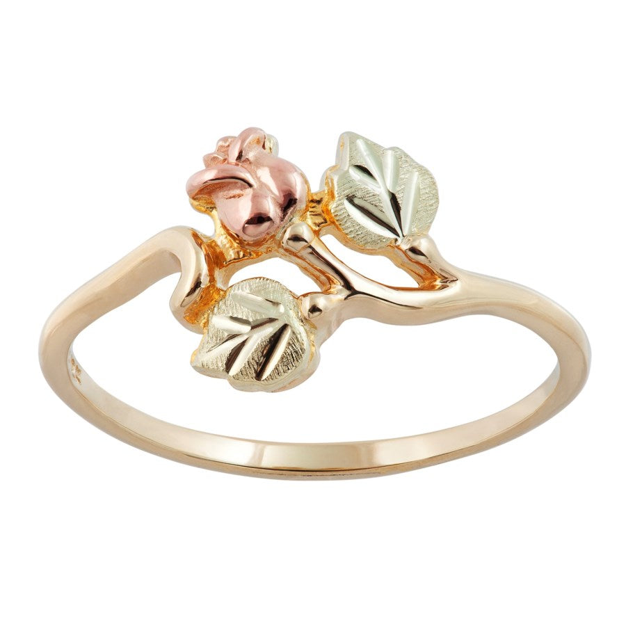 Sizes 3 - 13 Mt Rushmore Black Hills Gold Cute Rose Ring - 10K and 12K Yellow, Rose and Green Gold - Made to Order - G 1418