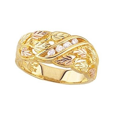Sizes 4 - 13 Mt. Rushmore Black Hills Gold Diamond Ring - Golden Hue - 10K and 12K solid gold - Made To Order - G 1482D